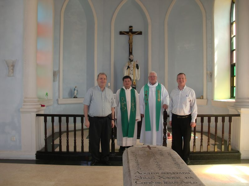 Jose, Bishop elect Liang, Doc and Mike at altar  on Sancian Island