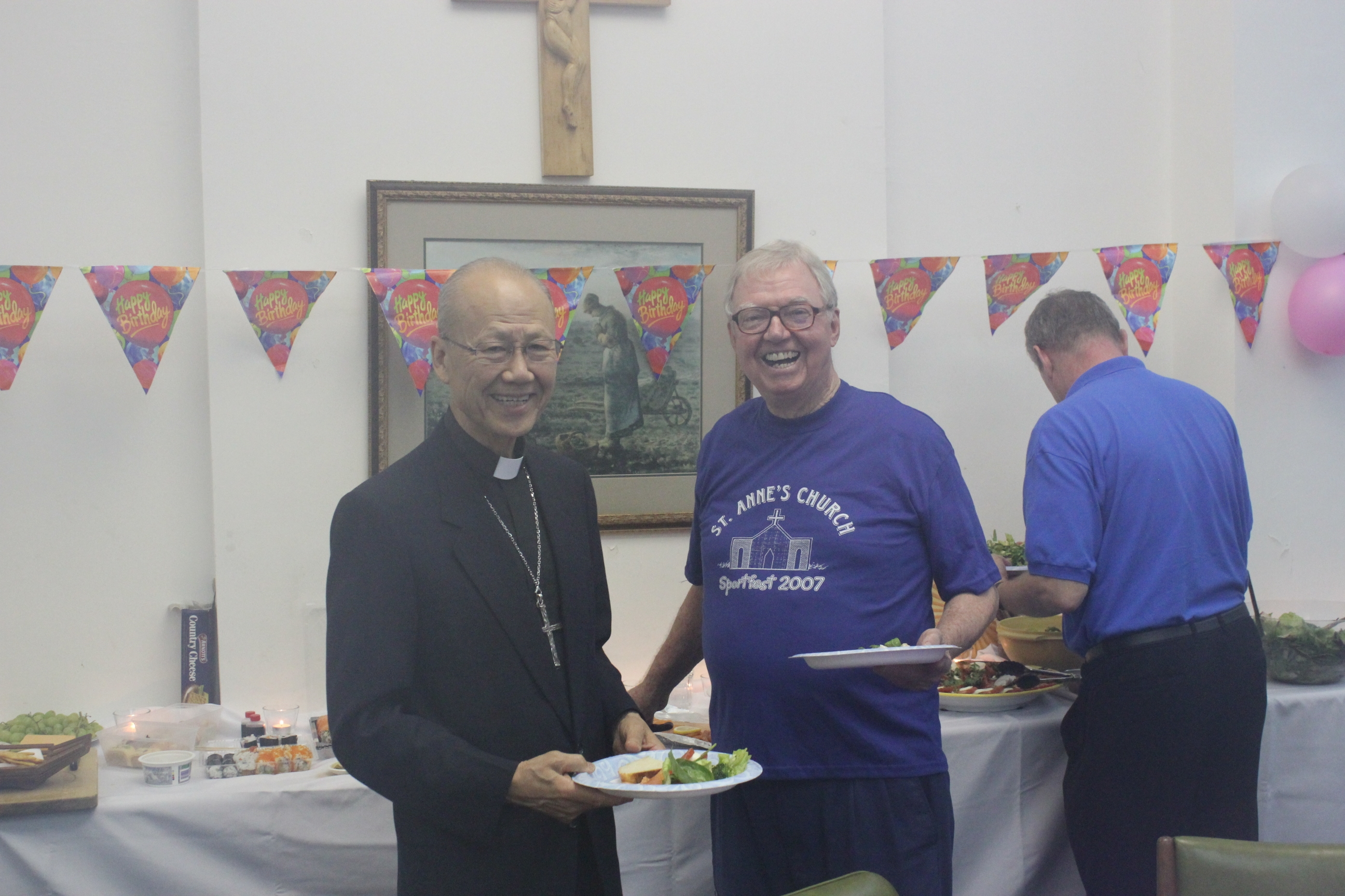 Friends Of Fr Elmer Wurth Gather At Stanley To Celebrate His 82nd And Bishop Tong